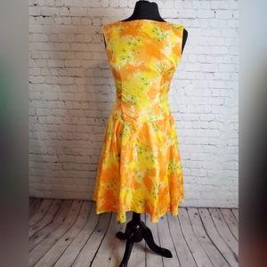 Vintage 60s Fit Flare Orange flower power dress